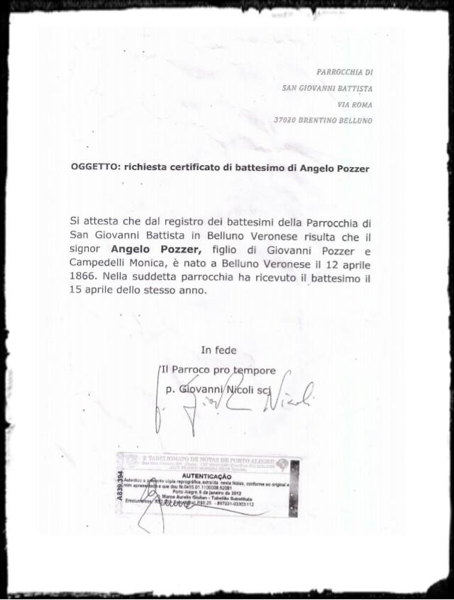 certdão de nascimento italiana