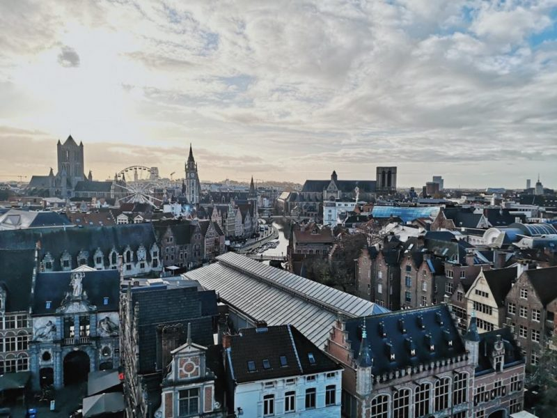 Gante visto do alto roteiro na Bélgica